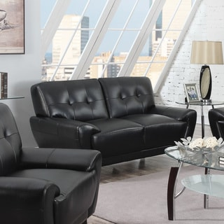 Coaster Company Mid-century Modern Tufted Black Faux Leather Sofa