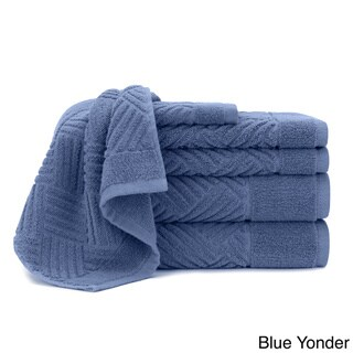 Jacquard Bars Designer 6-piece Cotton Bath Towel Set, with Bath Towels, Hand Towels and Washcloths by Briarwood Home
