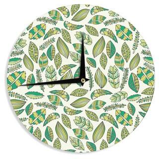 KESS InHouse Pom Graphic Design 'Tropical Botanicals' Nature Green Wall Clock
