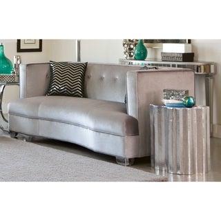 Tufted Silver Velvet Sofa