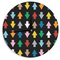 KESS InHouse Project M 'Arrows Up and Down Black' Wall Clock