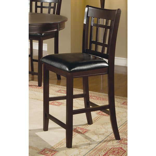 Coaster Company Leather Look Pub Chair, 24 Height, Cappuccino/Black (Set
