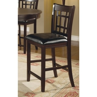 Coaster Company Leather-Look Pub Chair, 24 Height, Cappuccino/Black (Set of 2)