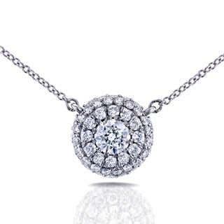 Annello 14k White Gold 4/5ct TDW Round Diamond Cluster Necklace (H-I, I1-I2)