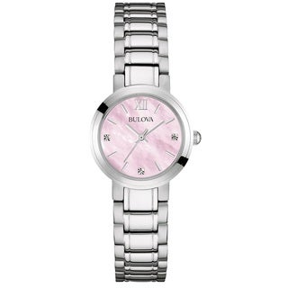 Bulova Women's 96P165 Stainless Steel and Diamond Watch with a Pink Mother of Pearl Dial