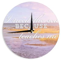 KESS InHouse Rachel Burbee 'I Need The Sea' Pink Typography Wall Clock