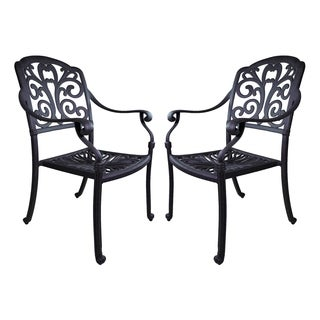 London Collection Floral Aluminum 2-piece Dining Chair Set