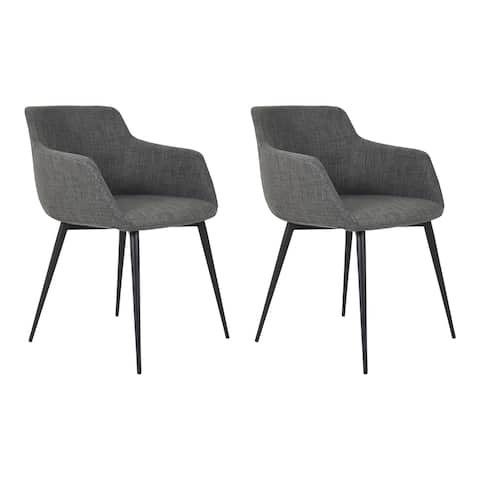 Aurelle Home Danish Modern Grey Arm Chair (Set of 2)