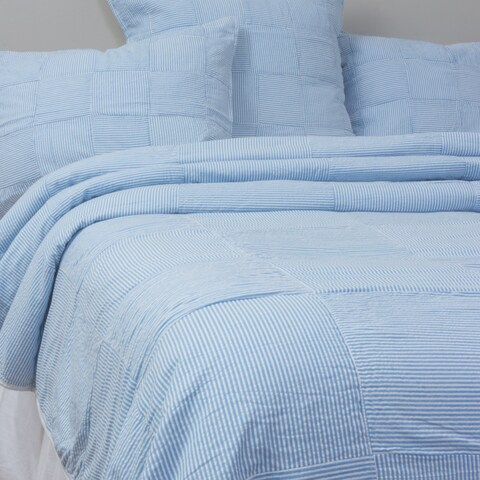 Seersucker Blue Patchwork Quilt Set