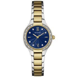 Bulova Women's 98R223 Two Tone Stainless Steel and Diamond Watch with Blue Dial and Roman Numerals