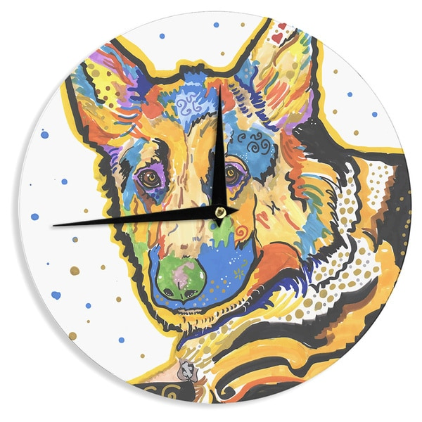 KESS InHouse Rebecca Fischer 'Floyd' German Shepard Wall Clock