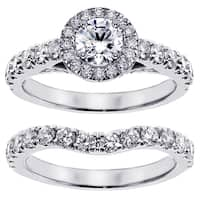 14k/18k White Gold 2 1/6ct TDW Prong Set Brilliant Cut Diamond Encrusted Engagement Bridal Set