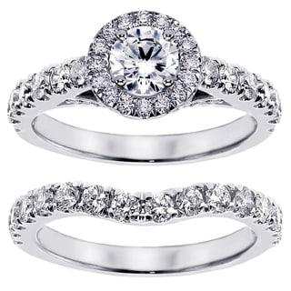 Platinum 2 1/6ct TDW Prong Set Brilliant Cut Large Diamond Encrusted Engagement Bridal Set (G-H, SI1-SI2)