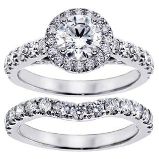 14k/18k White Gold 2 1/3ct TDW Prong Set Brilliant Cut Diamond Encrusted Engagement Bridal Set (G-H, SI1-SI2)