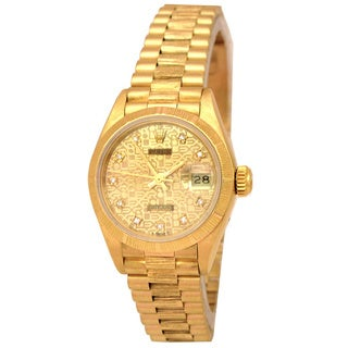 Pre-owned Rolex Women's 18k Yellow Gold Datejust President Watch