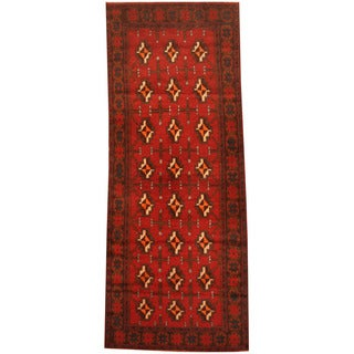 Herat Oriental Afghan Hand-knotted 1960s Semi-antique Tribal Balouchi Wool Runner (2'7 x 6'9)