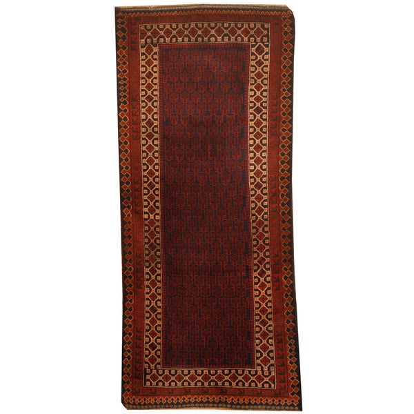 Herat Oriental Afghan Hand-knotted 1960s Semi-antique Tribal Balouchi Wool Runner (2'7 x 6'2)
