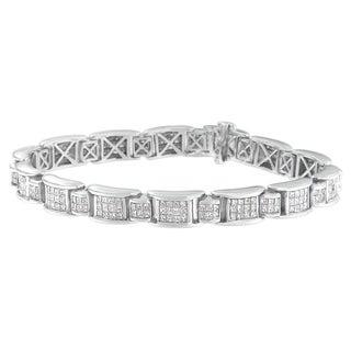 14k White Gold 5ct TDW Diamond Link Style Bracelet (H-I, SI2-I1)