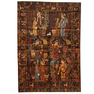 Herat Oriental Afghan Hand-knotted 1960s Semi-antique Tribal Balouchi Wool Rug (6'3 x 9'1)
