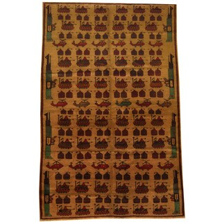 Herat Oriental Afghan Hand-knotted 1960s Semi-antique Tribal Balouchi Wool Rug (6'4 x 9'9)