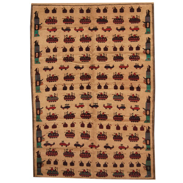 Herat Oriental Afghan Hand-knotted 1960s Semi-antique Tribal Balouchi Wool Rug (7' x 9'9)