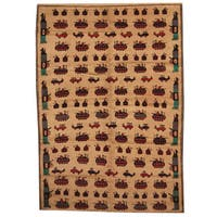 Handmade Herat Oriental Afghan 1960s Semi-antique Tribal Balouchi Wool Rug - 7' x 9'9 (Afghanistan)