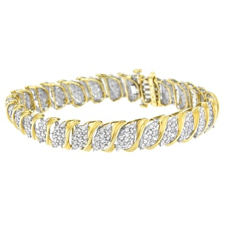 10k Yellow Gold 4ct TDW Diamond S-link Bracelet (I-J,I2-I3)