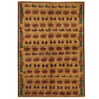 Herat Oriental Afghan Hand-knotted 1960s Semi-antique Tribal Balouchi Wool Rug (6'7 x 9'5)