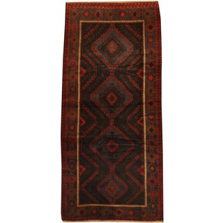 Herat Oriental Afghan Hand-knotted 1960s Semi-antique Tribal Balouchi Wool Rug (4'2 x 9')