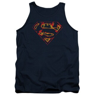 Superman/Super Distressed Adult Tank in Navy