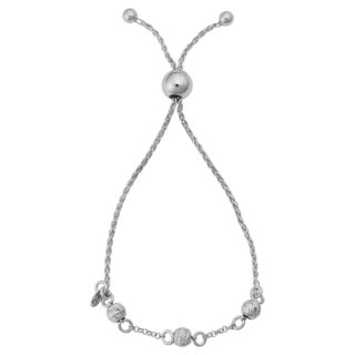 Argento Italia Rhodium Plated Sterling Silver Diamond-cut Beads Adjustable Length Slide Bracelet