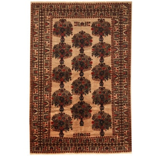 Herat Oriental Afghan Hand-knotted 1960s Semi-antique Tribal Balouchi Wool Rug (6'8 x 10')