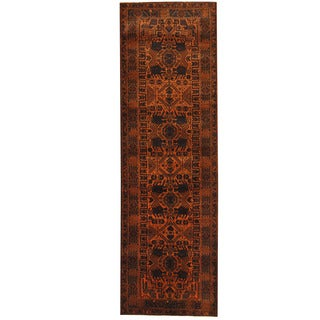 Herat Oriental Afghan Hand-knotted 1960s Semi-antique Tribal Balouchi Wool Runner (2'10 x 9')