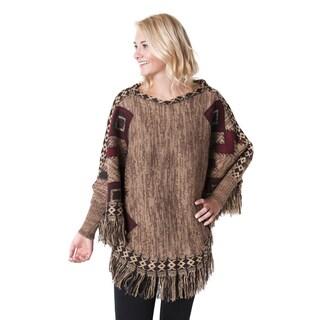 Muk luks Women's Brown Acrylic Knit Fringe Poncho