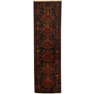 Herat Oriental Afghan Hand-knotted 1960s Semi-antique Tribal Balouchi Wool Runner (2'10 x 9'8)