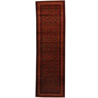 Herat Oriental Afghan Hand-knotted 1960s Semi-antique Tribal Balouchi Wool Runner (2'9 x 9')