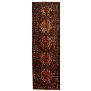 Herat Oriental Afghan Hand-knotted 1960s Semi-antique Tribal Balouchi Wool Runner (3' x 9'4)