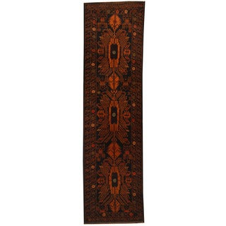 Herat Oriental Afghan Hand-knotted 1960s Semi-antique Tribal Balouchi Wool Runner (2'9 x 10'2)