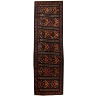 Herat Oriental Afghan Hand-knotted 1960s Semi-antique Tribal Balouchi Wool Runner (3' x 9'8)