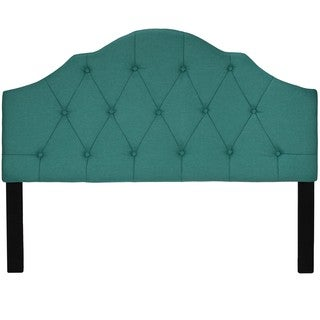 Cortesi Home Elsie Tufted Teal Linen Fabric Queen-size Headboard