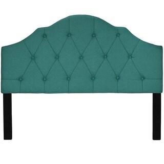 Cortesi Home Elsie Tufted Teal Linen Fabric Queen-size Headboard