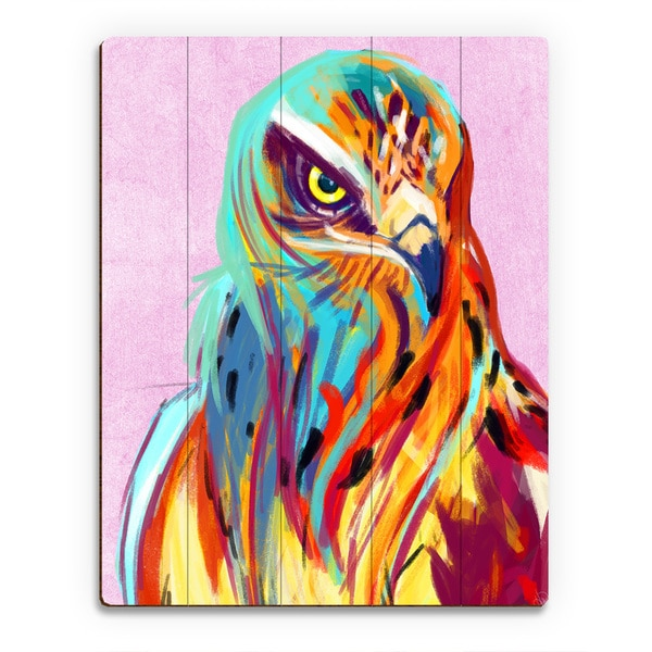 'Falcon on Pink' Wall Art on Wood