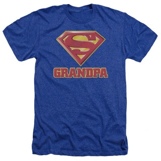 Superman/Super Grandpa Adult Heather T-Shirt in Royal Blue