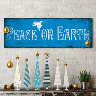 IHD Studio 'Peace on Earth' Blue Canvas Holiday Decor Display