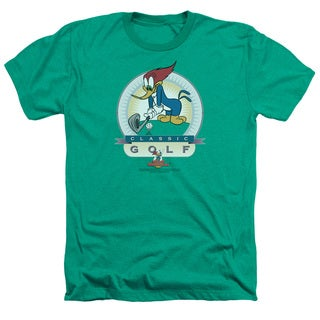 Woody Woodpecker/Classic Golf Adult Heather T-Shirt in Kelly Green