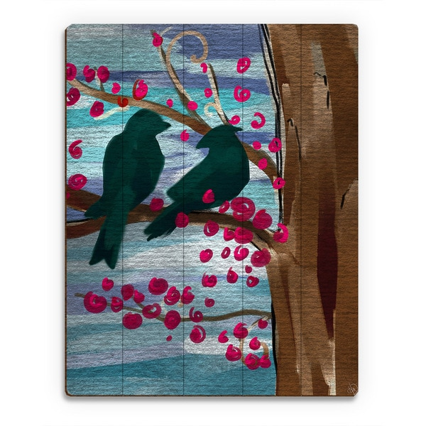 Birds Against a Blue Sky' Wall Art on Birchwood Slats