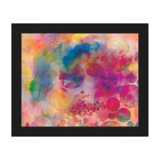 'Spotty Cerise Droplets' Black-frame Canvas Wall Art