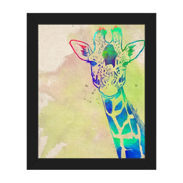 Rainbow Giraffeu0026#x27; Canvas Framed Wall Art