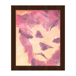 'Pink Lion' Brown-frame Canvas Wall Art