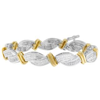 14k Two-tone Gold 4ct TDW Princess Cut Diamond Bracelet (H-I, SI2-I1)